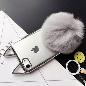 Cat Ears Fur Fluffy Ball Cover Case For iPhone 8+